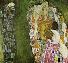 """Tod und Leben 1915 Klimt's large painting Death and Life, created in 1910, features not a personal death but rather merely an allegorical Grim Reaper who gazes at """"life"""" with a malicious grin. This """"life"""" is comprised of all generations: every age group is represented, from the baby to the grandmother, in this depiction of the never-ending circle of life. Death may be able to swipe individuals from life, but life itself, humanity as a whole, will always elude his grasp."""