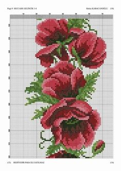 Beaded Embroidery, Cross Stitch Embroidery, Hand Embroidery, Cross Stitch Patterns, Cross Stitch Rose, Cross Stitch Flowers, Prayer Rug, Bunch Of Flowers, Bargello