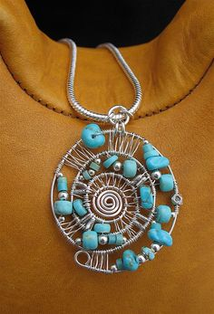 Blue Number 8 Turquoise Wire Wrapped Pendant by LoneRockJewelry, $99.00