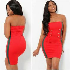 Side Stripe Red Boob Tube Wiggle Dress Bandeau Strapless Buttons UK 8 10 Summer #Love #PencilDress #Party
