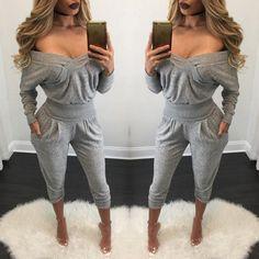 Women Sexy Off Shoulder Sweatshirt Set
