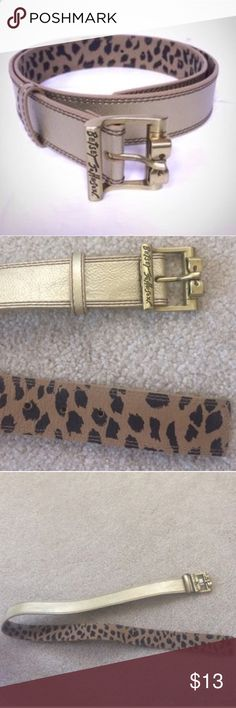 Betsey Johnson Gold Belt Metallic Bow Leopard S 🎉HOST PICK🎉 Betsey Johnson gold metallic belt, gold bow buckle, Size Small, leopard print on inside, about 38 inches long, adjustable holes, in very good condition. Please ask any questions  💲Price is firm unless bundled💲 🚫No Trades🚫 📦Ask About Bundle Discounts💰 Betsey Johnson Accessories Belts