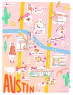 Guide to Austin + Printable Map Austin Motel, Austin Map, Living In Austin Texas, Design Thinking, Festival Guide, Printable Maps, Texas Travel, Map Design, Viajes