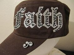 SALE Military Cadet Hat Distressed Faith by GoldenDreamFinds 3fa4840cc65f