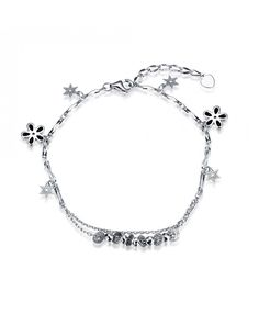 Beautiful Beaded 925 Sterling Silver Bracelet Rolo Chain with Flower and Star