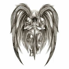 This would make an awesome tattoo Angel Warrior Tattoo, Guardian Angel Tattoo, Demon Tattoo, Warrior Tattoos, Angels Tattoo, Austin Tattoo Artists, Side Hip Tattoos, Back Tattoos, Sweet Tattoos