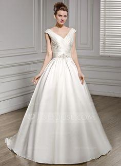 A-Line/Princess V-neck Court Train Satin Wedding Dress With Ruffle Beading Sequins (002056576) - JJsHouse
