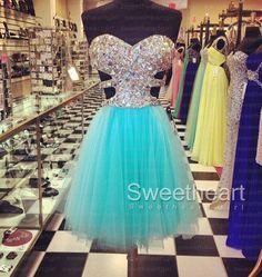Blue Tulle Rhinestone Short Prom Dresses, Homecoming Dresses #prom #promdress