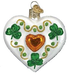 Shamrock Heart Glass Ornament