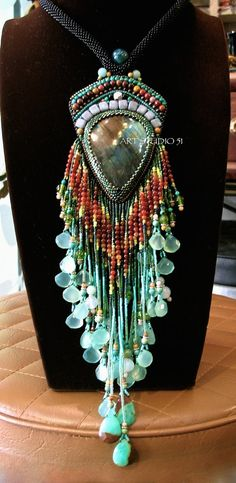 A unique beadwork of art Labradorite pendant beaded. I made only one piece. This good for gift, will be great for you or your special person. It is