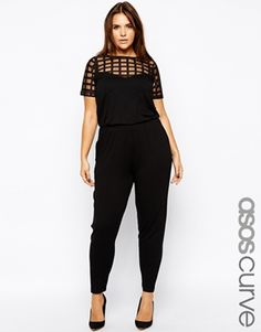ASOS CURVE Exclusive Peg Jumpsuit With Grid Mesh. I love this a lot oh my goodness