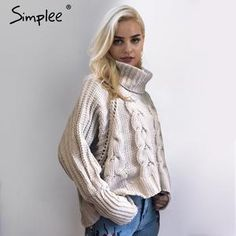 Simplee Turtleneck knitted pullover sweater