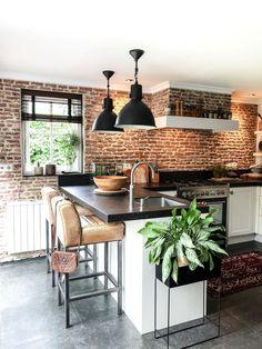 Kitchen interior design – Home Decor Interior Designs Modern Kitchen Design, Interior Design Kitchen, Home Decor Kitchen, Home Kitchens, Brick Wall Kitchen, Brick Wall Decor, Farmhouse Light Fixtures, Farmhouse Lighting, Brick Interior
