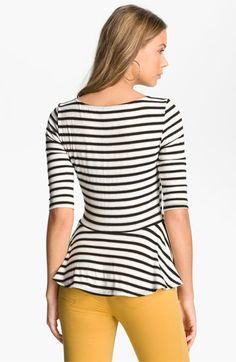 WallpapHer Stripe Peplum Top (Juniors) | Nordstrom
