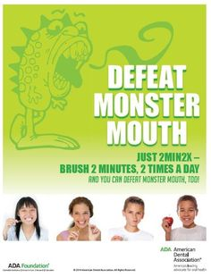 Defeat Monster Mouth!  Fun posters & kid's activities for National Children's Dental Health Month #NCDHM
