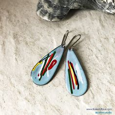 Enameled Earrings, Aqua Blue Enamel Earrings, Long Multi Color Teardrop Earrings, Abstract Art Earrings, Artisan Earrings, Boho Chic