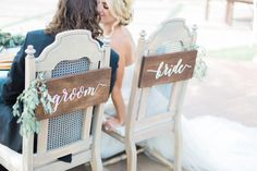 Bride & Groom Signs - Sweetheart Chair Signs - Wedding Signs by theDuoStudio on Etsy (null)