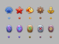 A collection of gaming icons. Sea and Runes.