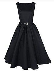 guaimi ® Frauen-Boot-Ausschnitt ärmelloses Vintage-Swing-Rockabilly audrey Retro-Kleid