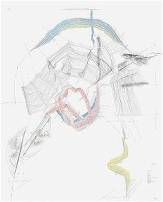 Jorinde Voigt, Nexus (Berlin) V, 2010, Ink, oil crayon, pencil on paper, 101 9/16 x 81 7/8 inches