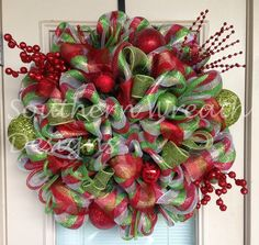 Red, Silver and Green Deco Mesh Christmas Wreath. $115.00, via Etsy.
