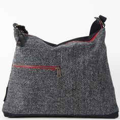 Harris Tweed Messenger Charcoal with Dry Waxed Cotton Reverse