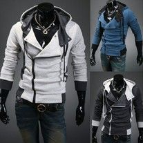 The item is a casual coat hoodie for men. The material is very comfortable. And the design is very fashion. It is absoulately can show your personal charm.  Extremely fashion, and eye-catching, Comfortable to wear and touch, Material:cotton blend, Color: lightgray, darkgray,blue    Size:  M...