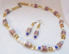 Lampwork Bead OOAK Necklace and earrings with Blue Accents
