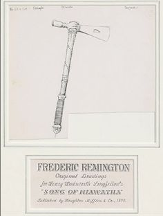 harrison fisher from the song of hiawatha by henry wadsworth  fredric remington hiawatha tomahawk ink and pen drawing for henry wadsworth longfellow s song