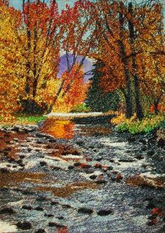 """'North Carolina River in Thread' by joraines - A 5"""" x 7"""" THREAD PAINTING based on a photograph taken by Edgar Woodfin of a North Carolina river near Tuxedo, North Carolina. The background is painted Habutai silk and the thread painting is done in rayon threads using a straight stitch. (2011)"""