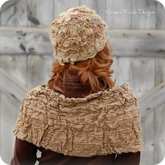 Lichen and Lace Cloche Hat and Shrug Earthy Woodland Fairy