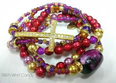Royal Purple and Red Beaded Bracelet Stack by RandRsWristCandy, $10.00