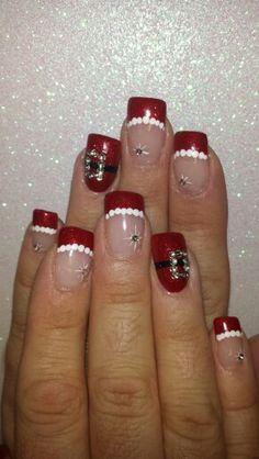 makeup, christmas nails, beauti, santa suit, hair, santa nail, holiday nail designs, christma nail, nail art