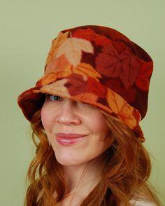 SHERLOCK- Falling Leaves- size M/L- winter polar fleece hat. $25.00, via Etsy.