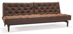 Oldschool Bäddsoffa - Vintage brown leather look från Innovation hos ConfidentLiving.se