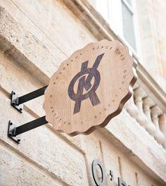 Restaurant Bordeaux :o Cafe Signage, Restaurant Signage, Deco Restaurant, Wayfinding Signage, Signage Design, Restaurant Design, Logo Design, Environmental Graphic Design, Environmental Graphics