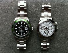 "L/H side  SS 50 Th Anniversary ""Green Bezel"" Submariner     R/H side ROLEX Mens Daytona Stainless Steel w/White Dial"