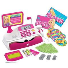 Isabelle loved this Barbie Cash Register because the speaker kinda actually works. Now she can say things like, 'Clean up on aisle please.' and 'Number your order is ready.' And, it sounds legit. Gifts for girls Board: Kids Toys Barbie Shop, Barbie Dolls, Toys R Us, Kids Toys, 4 Year Old Girl, Baby Girl Toys, Boy Toys, Baby Girls, Cash Register