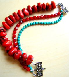 Chunky bracelet with coral turquoise and red by ElephantBeads