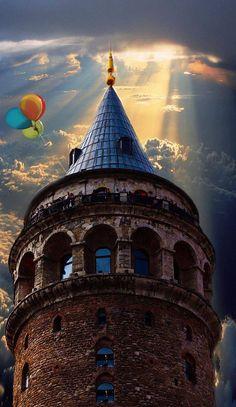 """Galata Tower in Istanbul """"Ama yavaş yavaş anladın ki, dünya hiç de senden eylemlerde ve özverilerde bulunmanı istemiyor; yaşam,kahramanrollerine ve benzeri şeylere yer veren bir kahramanlık destanı değil, insanların yiyip içmeler, kahve yudumlamalar, örgü örmeler, iskambil oynamalar, radyo dinlemelerle yetinip hallerine şükrettikleri rahat bir orta sınıf evidir.""""Herman Hesse"""