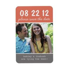 Stylish and chic! Coral & Gray Photo Save The Date Magnets!