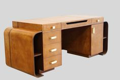 Yacht Club Desk 01 - Antique Gold by PortsideCafe Furniture Studio is perfect study desk in warm hues to match your wood panelled walls lined with books.