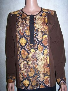 Romeo & Juliet Couture Size Med NWT Long Sleeve Blouse Multi Color  #RomeoJulietCouture #Blouse #Career