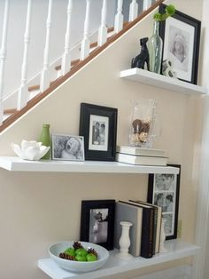 Like the different placement of shelves! Don't have a stair wall but maybe a wall that has an angle?!