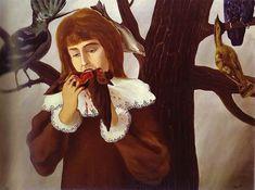 Rene Margaritte, Jeune fille mangeant un oiseau (Le Plaisir). 1927. Oil on canvas