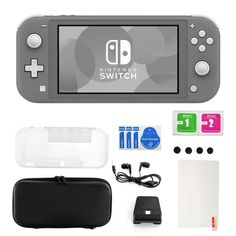 Nintendo Switch Lite in Gray with Accessories 11 in 1 Accessories Kit (Gray - N/A) Star Citizen, Nintendo Switch System, Diy Rack, Nintendo Switch Accessories, Nintendo Eshop, Some Games, Multi Touch, Jouer, Video Game Console