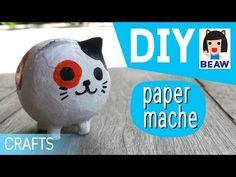 How to make a paper mache cat cartoon for kids crafts diy / สอนทําเปเปอร์มาเช่ แมว การ์ตูน ง่ายๆ - YouTube