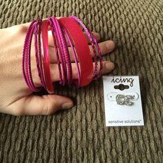 "Pink bangles & silver ""C"" earrings w/ rhinestones Pink bangles and silver ""C"" earrings with rhinestones. Never worn earrings, and gently used bangles! Jewelry"