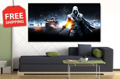"""Canvas painting """"Assassin's creed"""". Large poster for home decor. 1-2-3-4-5 panel canvas art. Flover print canvas set for room decoration by CanvasPrintingShop, $49.00 USD"""