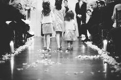 Alexandra Roberts Photography | #AldenCastle #LongwoodVenues #BostonWedding #Boston #Wedding #Bride #Groom #FirstLook #Photography #WinterWedding #Ceremony #Flowergirl #Aisle #FlowerPetals #BlackandWhite #WeddingPhotography http://longwoodevents.com http://alexandraroberts.com